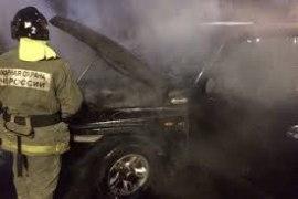 В Заозерном в ночь сгорел автомобиль
